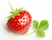 Red berry strawberry with leaf on white background