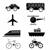 Silhouette Of Transportation Icon Set Vector.eps