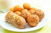 pic of crispy rice  - many kind of thai dessert sesame balls shredded rice grain with banana - JPG