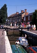 Narrowboats in lock, Stoke Bruerne.