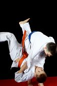 picture of judo  - Training nage judo in the performance of an athlete with a blue belt - JPG