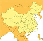 China with Administrative Districts and Surrounding Countries