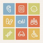 Medicine web icon set 2, color square buttons