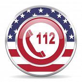 emergency call american icon, usa flag