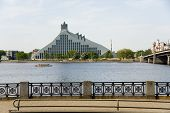 Riga.  View On National Library And The Bridge.