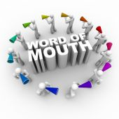 picture of motivation talk  - A ring of people carrying bullhorns around the phrase Word of Mouth - JPG