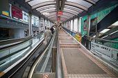 HONG KONG - NOVEMBER 1, 2011: The Central-Mid-Levels escalator and walkway system in Hong Kong is th