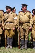 Members Of Red Star History Club Wear Historical Soviet Uniform During Historical Reenactment Of Wwi