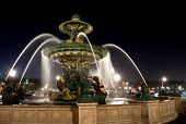 Fountain on Place de la Concorde in Paris at night France