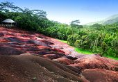 Main sight of Mauritius- Chamarel- seven color lands.