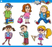 Cute Primary School Children Cartoon Set