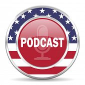 podcast american icon, usa flag
