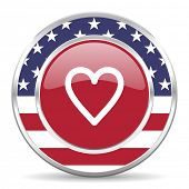 heart american icon, usa flag