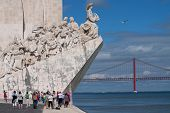 LISBON, PORTUGAL - MAY 28, 2014: Tourist visiting the Monument to the Discoveries in Lisbon. The mon