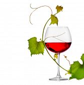 Wine. Glass of wine isolated on white background. One Glass of red wine and grape leaves. Rose wine.