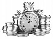 Time Is Money - 3D Illustration Of Stopwatch And Silver Coins