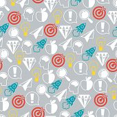 Idea concept seamless pattern in flat design style.