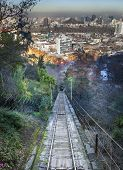 Tram to the top of hill, San Cristobal hill, Santiago, Chile