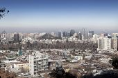 City viewed from San Cristobal hill, Santiago, Chile