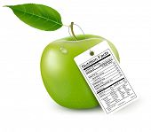 An apple with a nutrition facts label.  Raster version