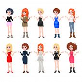 Women with different dresses, clothes and shoes. Funny cartoon vector isolated characters.