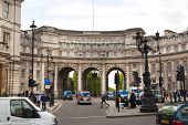 LONDON, UK - MAY 14, 2014: Admiralty Arch in London next to Trafalgar square, path leading pedestria