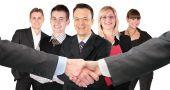 Händeschütteln mit Handgelenke und fünf Business Gruppe Collage