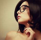 Beautiful Female Model Profile In Fashion Glasses Looking Sexy