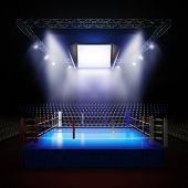 stock photo of boxing ring  - A 3d render illustration of empty professional boxing ring with illumination by spotlights - JPG