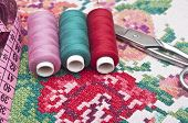 Cross-stitch set: colorful threads and canvas
