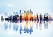 stock photo of differences  - Silhouettes of Business People - JPG
