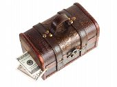 Wooden chest with money