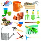 Collage of gardening tools isolated on white