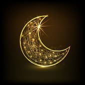 Floral design decorated golden crescent moon on brown background for holy month of muslim community Ramadan Kareem.