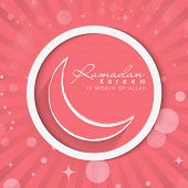 Elegant greeting card design with crescent moon on pink rays background for holy month of Muslim community Ramadan Kareem.