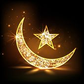 Golden floral design decorated moon and star on shiny brown background for holy month of muslim comm