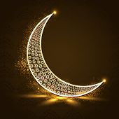 Floral design decorated crescent golden moon on shiny brown background for holy month of Muslim community Ramadan Kareem.