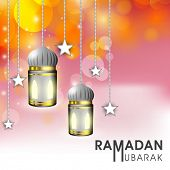 Beautiful greeting card design with hanging lanterns and stars on shiny orange and pink background for celebration of holy month Ramadan Mubarak.
