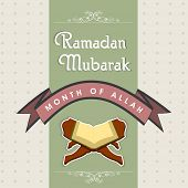 Creative greeting card for celebrations of holy month of Almighty Allah Ramadan Mubarak with open re