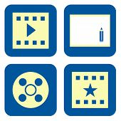 stock photo of storyboard  - Movie video production icon set isolated on white background - JPG