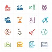 School & Education Icons Set 3 - Colored Series.eps