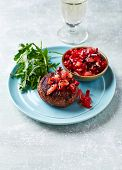 Grilled Burger with Tomato and Pepper Salsa