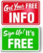 Signs get users to sign up for free store info and join website