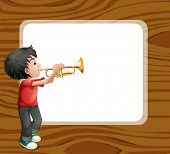 Illustration of a boy playing with his trombone in front of an empty template