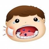 pity boy have toothache illustration