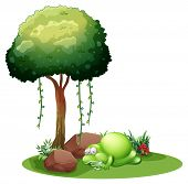 Illustration of a monster sleeping under the tree on a white background