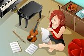 Songwriter With Her Violin