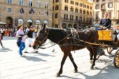 Tourists Ride On A Carriage Pulled By A Horse In Florence, Italy