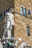 Neptune Statue In The Fountain On Piazza Della Signoria In Florence, Italy