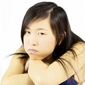 Sad Bored Asian Young Woman